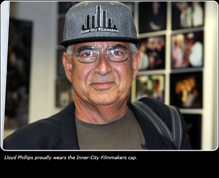 Picture of Lloyd Phillips wearing the Inner-City Filmmakers cap